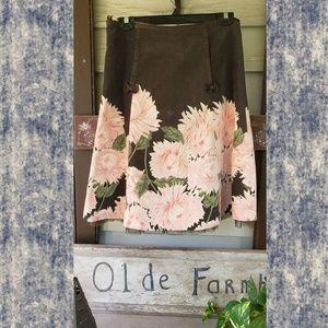 vintage ODILLE anthropologie corduroy a line skirt